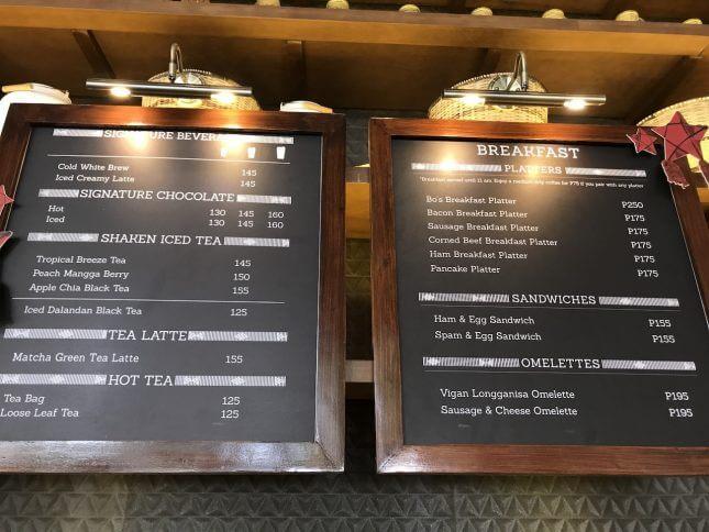セブ島のBo's Coffeeのメニュー