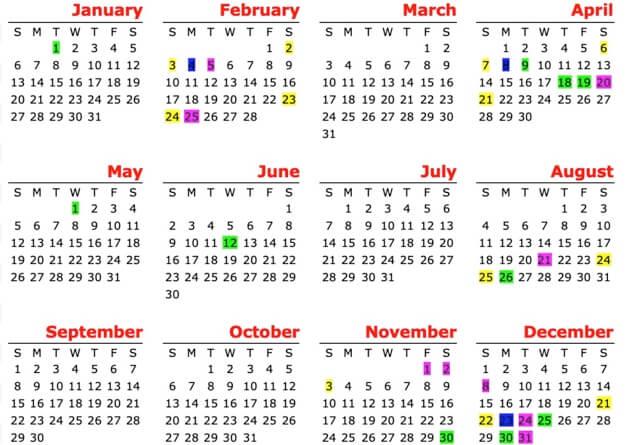 フィリピンの2019年・祝日・休日カレンダー