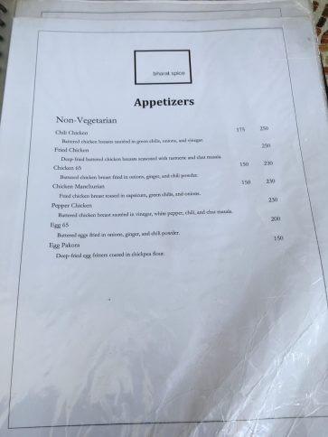 Bharat Spiceのメニュー表